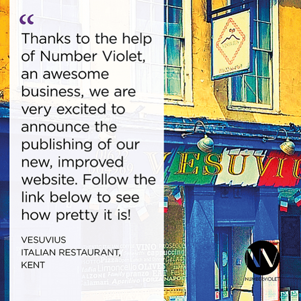 Number Violet Client Testimonial - Vesuvius Restaurant Website Development