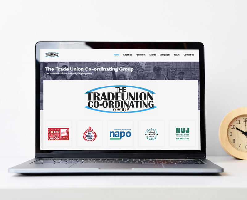 Website development for The Trade Union Co-ordinating Group by Number Violet
